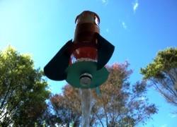 a water rocket taking off