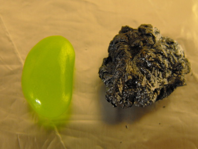 The jelly bean before and after combustion